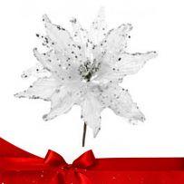 Λευκά - Ασημί - Γκρι Χριστουγεννιάτικα Λουλούδια Πικ