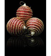 Χριστουγεννιάτικες Μπάλες Δέντρου Κόκκινες με Σχέδιο - 8 εκ.