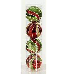 Χριστουγεννιάτικες Μπάλες Οροφής, Πολύχρωμες Στριφτές - Σετ 4 τεμ. (10cm)