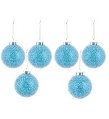 Χριστουγεννιάτικες Μπάλες Χιονισμένη Μπλε, Σετ 6τμχ, 8εκ