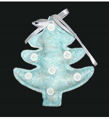 Χριστουγεννιάτικο Στολίδι, Λούτρινο Δεντράκι Μπλε με Γκρι Κουμπιά (12cm)  - 1 Τεμάχιο