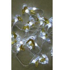 30 Λευκά Ψυχρά Φωτάκια LED, με Ακρυλικά Αγγελάκια (3m)