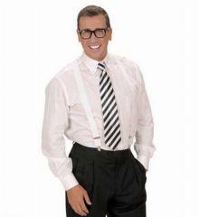 Αποκριάτικο Αξεσουάρ Λευκή Σατέν Γραβάτα με Μαύρες Ρίγες
