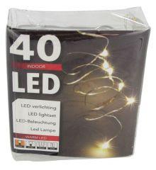 40 Λαμπάκια LED Copper σε Σειρά, Μπαταρίας - Λευκό Θερμό Φως