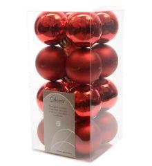 Χριστουγεννιάτικες Μπάλες Δέντρου Κόκκινες - Σετ 16 τεμάχια (4cm)