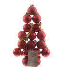 Σετ Χριστουγεννιάτικες Πλαστικές Κόκκινες Μπάλες - 3εκ. (17 τεμάχια)