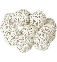 Χριστουγεννιάτικες Μπάλες Ψάθινες Λευκές - Σετ 12 τεμ. (8cm)