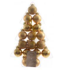 Σετ Χριστουγεννιάτικες Πλαστικές Χρυσές Μπάλες - 3εκ. (17 τεμάχια)