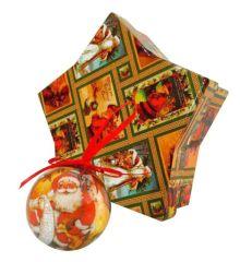 Χριστουγεννιάτικες Μπάλες με Άγιο Βασίλη Σε Κουτί Δώρου -  Σετ 6 τεμ. (4cm)