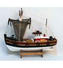 Χριστουγεννιάτικο Ξύλινο Διακοσμητικό Καράβι, Μηχανότρατα με Δίχτυα (45cm)