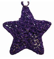 Χριστουγεννιάτικο Μεταλλικό Μωβ Αστέρι (13cm)