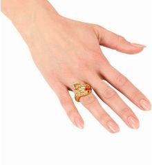 Αποκριάτικο Αξεσουάρ Χρυσό Δαχτυλίδι Φίδι με Κόκκινα Μάτια