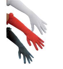 Αποκριάτικο Αξεσουάρ Μεγάλα Σατέν Γάντια με Πούπουλα (3 χρώματα)