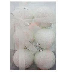 Χριστουγεννιάτικες Πλαστικές Λευκές Μπάλες με Στρας, 8cm (Σετ 6 τεμ)