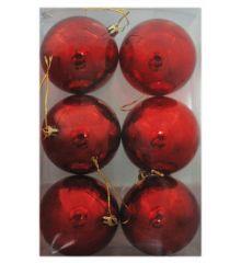 Χριστουγεννιάτικες Πλαστικές Κόκκινες Μπάλες, 8cm (Σετ 6 τεμ)
