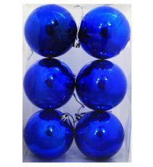 Χριστουγεννιάτικες Πλαστικές Μπλε Μπάλες, 8cm (Σετ 6 τεμ)