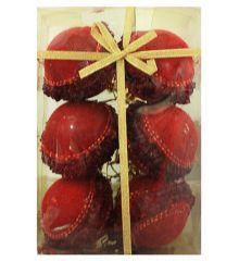 Χριστουγεννιάτικες Κόκκινες Μπάλες,με Κόκκινες Χάντρες - Σετ 6 τεμ. (6cm)