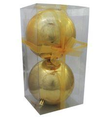 Χριστουγεννιάτικες Πλαστικές Χρυσές Μπάλες, 10cm (Σετ 2 τεμ)