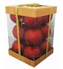 Χριστουγεννιάτικες Πλαστικές Κόκκινες Μπάλες με Χρυσόσκονη, 6cm (Σετ 12 τεμ)