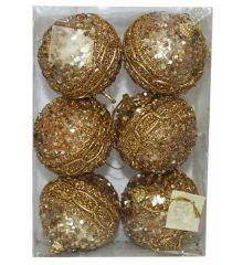 Χριστουγεννιάτικες Μπάλες Χρυσές Ανάγλυφες με Πούλιες - Σετ 6 τεμ. (6cm)Χριστουγεννιάτικες Πλαστικές Χρυσές Μπάλες Ανάγλυφες με Πούλιες, 6cm (Σετ 6 τεμ)