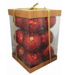 Χριστουγεννιάτικες Πλαστικές Κόκκινες Μπάλες με Πούλιες - Σετ 12 τεμ. (6cm)