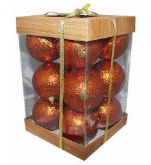 Χριστουγεννιάτικες Μπάλες Μπρονζέ με Χρυσόσκονη - Σετ 12 τεμ. (6cm)