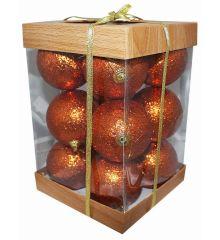 Χριστουγεννιάτικες Μπάλες Μπρονζέ - Σετ 12 τεμ. (8cm)
