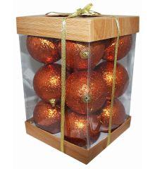 Χριστουγεννιάτικες Μπάλες Μπρονζέ - Σετ 12 τεμ. (10cm)