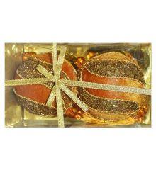 Χριστουγεννιάτικες Πλαστικές Χρυσές Μπάλες Ανάγλυφες - Σετ 2 τεμ. (10cm)
