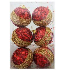Χριστουγεννιάτικες Κόκκινες Πλαστικές Μπάλες με Χρυσές Λεπτομέρειες και Στρας, 6cm (Σετ 6 τεμ)