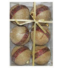 Χριστουγεννιάτικες Μπάλες Χρυσές Ανάγλυφες με Χρυσόσκονη και Κόκκινη Ρίγα - Σετ 6 τεμ. (8cm)