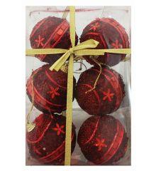 Χριστουγεννιάτικες Κόκκινες Μπάλες, με Ανάγλυφα Σχέδια - Σετ 6 τεμ. (6cm)