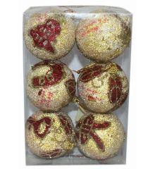 Χριστουγεννιάτικες Μπάλες Χρυσές Ανάγλυφες με Κόκκινα Σχέδια - Σετ 6 τεμ. (6cm)