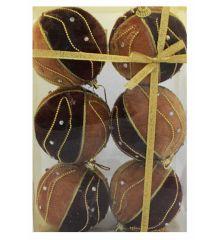 Χριστουγεννιάτικες Μπάλες Καφέ - Σετ 6 τεμ. (8cm)