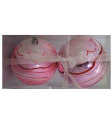 Χριστουγεννιάτικες Πλαστικές Ροζ Μπάλες με Ανάγλυφα Σχέδια, 10cm (Σετ 2 τεμ)