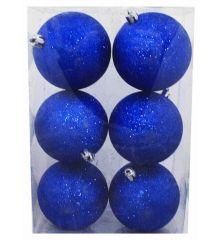 Χριστουγεννιάτικες Πλαστικές Μπλε Μπάλες, με Χρυσόσκονη - Σετ 6 τεμ. (8cm)