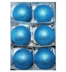 Χριστουγεννιάτικες Πλαστικές Γαλάζιες Μπάλες, με Χρυσόσκονη - Σετ 6 τεμ. (8cm)