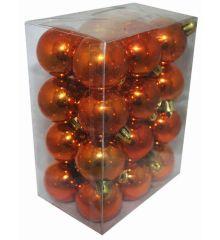 Χριστουγεννιάτικες Πλαστικές Μπρονζέ Μπάλες, 4cm (Σετ 24 τεμ)