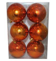 Χριστουγεννιάτικες Πλαστικές Μπρονζέ Μπάλες, 8cm (Σετ 6 τεμ)