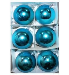 Χριστουγεννιάτικες Πλαστικές Γαλάζιες Μπάλες, 8cm (Σετ 6 τεμ)