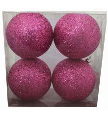 Χριστουγεννιάτικες Ροζ Μπάλες, με Χρυσόσκονη -Σετ 4 τεμ. (10cm)