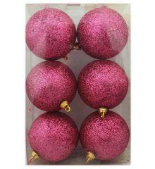 Χριστουγεννιάτικες Ροζ Μπάλες, με Χρυσόσκονη -Σετ 6 τεμ. (8cm)