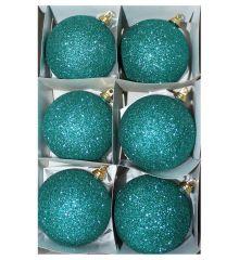 Χριστουγεννιάτικες Πλαστικές Πετρόλ Μπάλες με Χρυσόσκονη, 8cm (Σετ 6 τεμ)