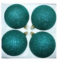 Χριστουγεννιάτικες Πλαστικές Πετρόλ Μπάλες με Χρυσόσκονη, 10cm (Σετ 4 τεμ)