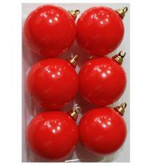 Χριστουγεννιάτικες Κόκκινες Μπάλες - Σετ 6 τεμ. (6cm)