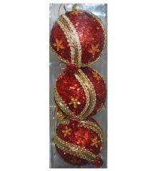 Χριστουγεννιάτικες Κόκκινες Μπάλες, με Χρυσά Σχέδια - Σετ 3 τεμ. (8cm)
