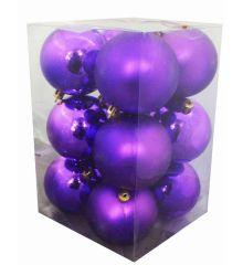 Χριστουγεννιάτικες Μπάλες Μωβ - Σετ 12 τεμ. (8cm)