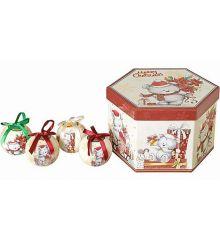 Χριστουγεννιάτικες Μπάλες με Αρκουδάκια σε Κουτί Δώρου - Σετ 14 τεμ. (7cm)