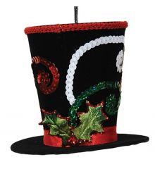 Χριστουγεννιάτικο Κρεμαστό Στολίδι Μαύρο Καπέλο (11cm) - 1 Τεμάχιο
