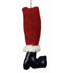 Χριστουγεννιάτικο Υφασμάτινο Κρεμαστό Πόδι Άγιου Βασίλη Πολύχρωμο (33cm)
